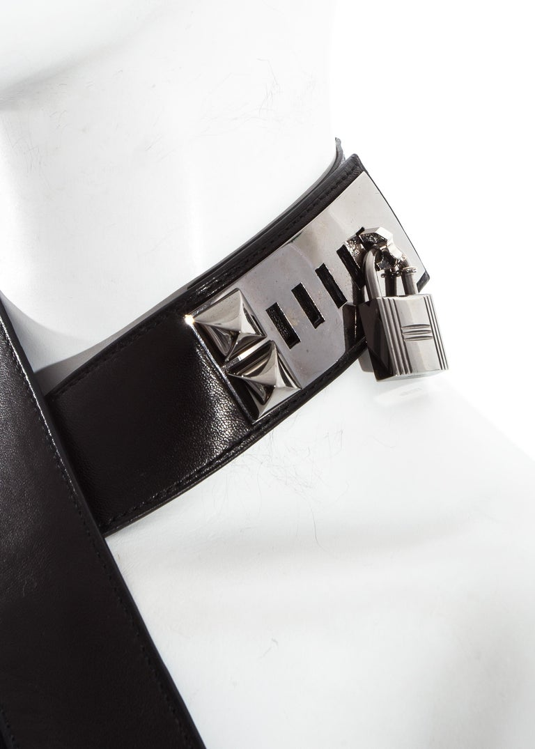 Black Hermes by Jean Paul Gaultier silk and leather Collier de chien dress, fw 2009 For Sale