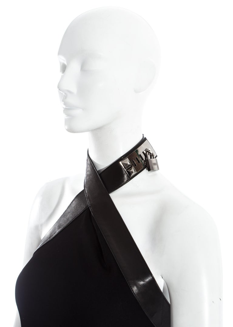 Hermes by Jean Paul Gaultier silk and leather Collier de chien dress, fw 2009 In Good Condition For Sale In London, GB
