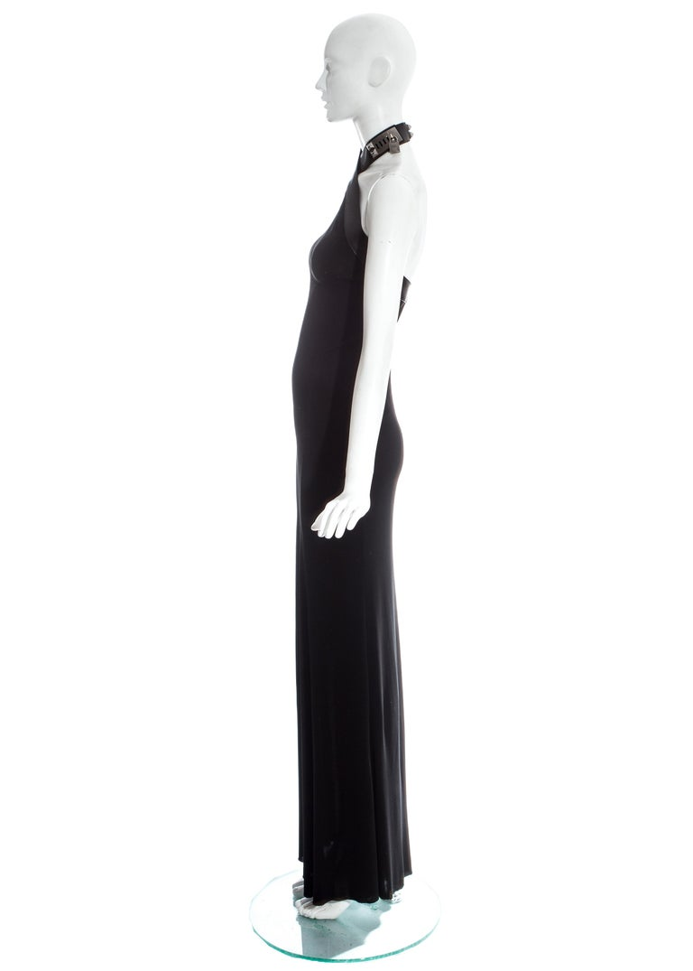 Women's Hermes by Jean Paul Gaultier silk and leather Collier de chien dress, fw 2009 For Sale