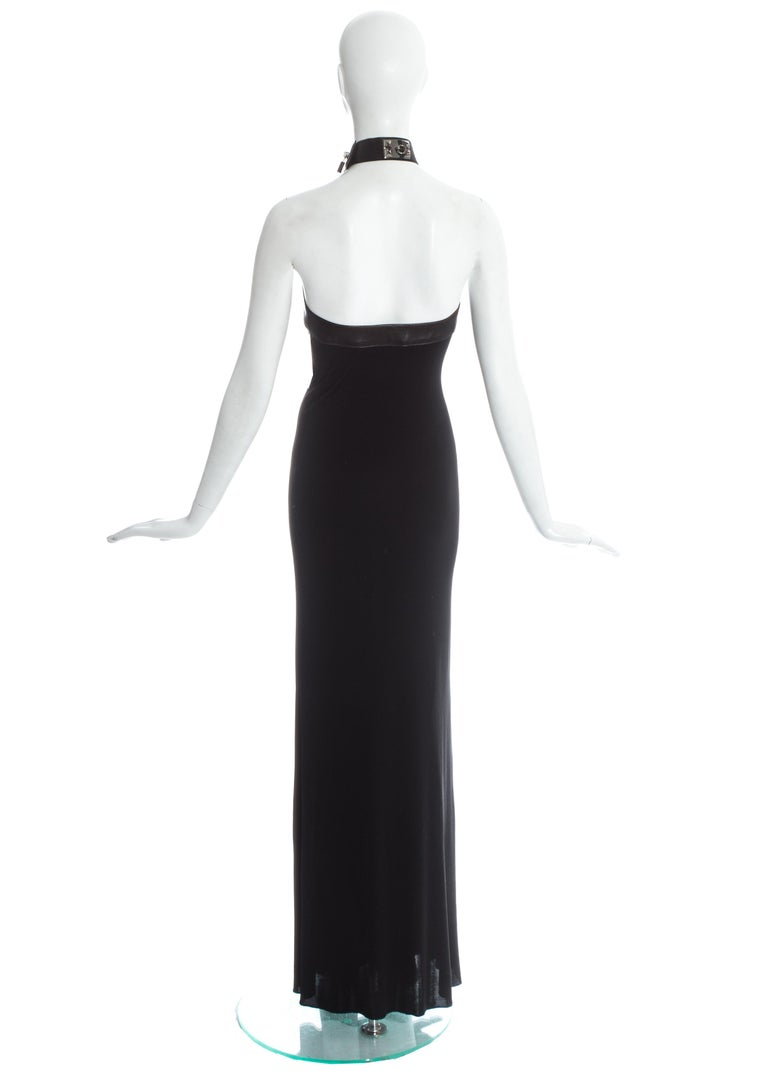 Hermes by Jean Paul Gaultier silk and leather Collier de chien dress, fw 2009 For Sale 1