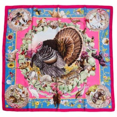 Hermès by Kermit Oliver Pink Texas Wildlife Silk Scarf