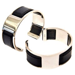 Hermes by Martin Margiela Black Leather & Chrome Plated Cuff Bracelets