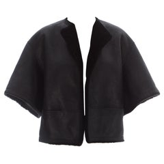 Hermes by Martin Margiela black shearling leather cropped jacket, ca. 2002