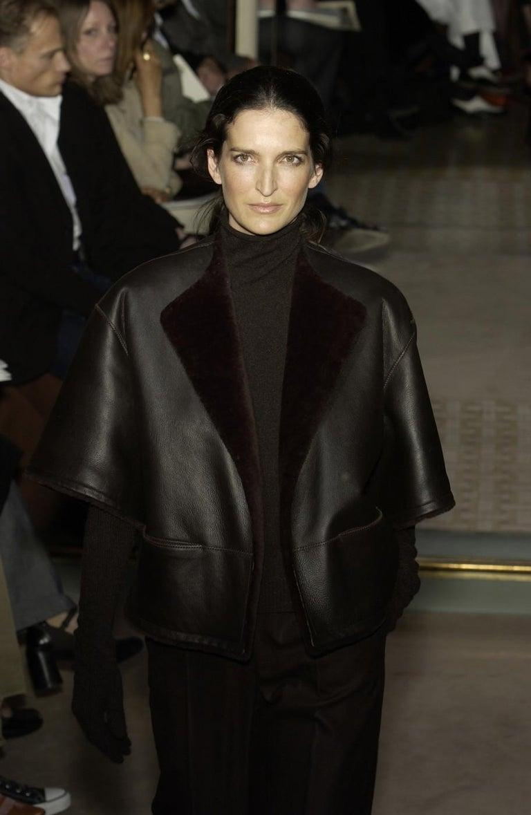 Black Hermes by Martin Margiela black shearling leather cropped jacket, fw 2002 For Sale