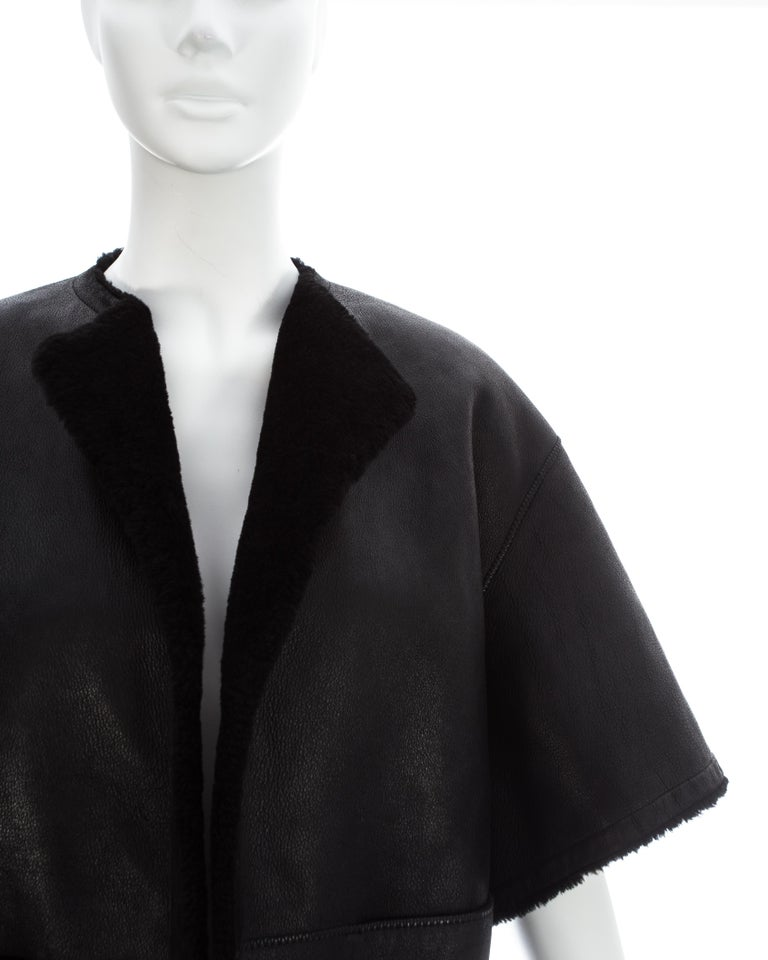 Hermes by Martin Margiela black shearling leather cropped jacket, fw 2002 In Good Condition For Sale In London, GB