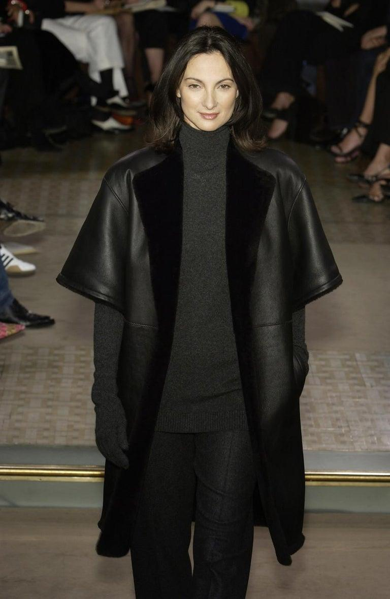 Women's Hermes by Martin Margiela black shearling leather cropped jacket, fw 2002 For Sale