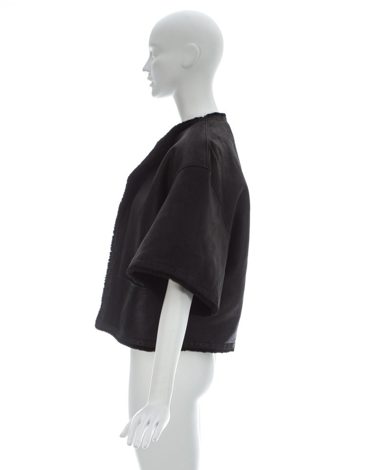 Hermes by Martin Margiela black shearling leather cropped jacket, fw 2002 For Sale 2