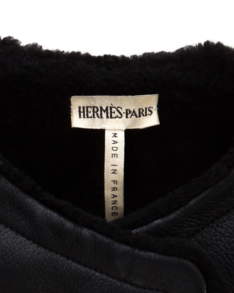 Hermes by Martin Margiela black shearling leather cropped jacket, fw 2002 For Sale 4