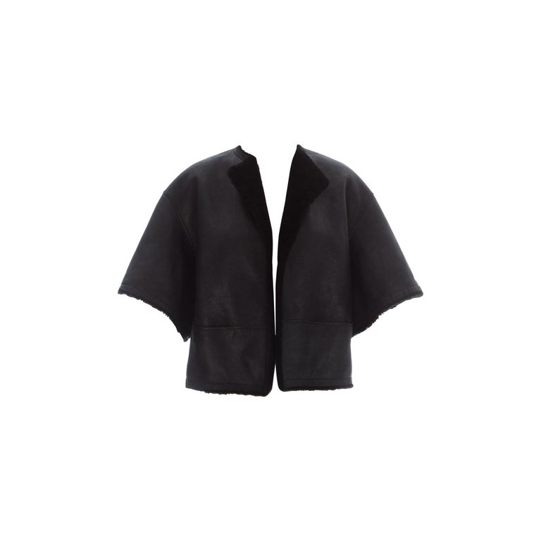 Hermes by Martin Margiela black shearling leather cropped jacket, fw 2002 For Sale