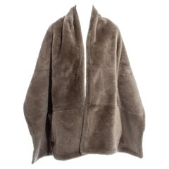 Hermes by Martin Margiela oversized shearling lambskin leather stole, fw 1999