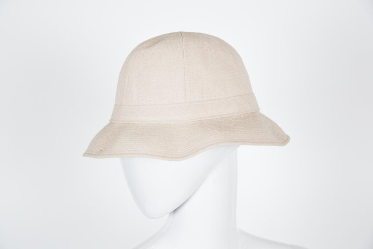 Hermes Motsch Paris (Hermès artisan maker) summer ivory cotton canvas bucket hat.  Size: 55  Borders: 6cm In good vintage condition. Made in France. We guarantee you will receive this gorgeous summer hat as described and showed on photos.