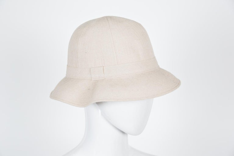 Gray Hermes by Motsch Paris Summer Ivory Canvas Bucket Hat  For Sale