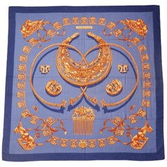 Hermes by Vladimir Rybaltchenko Blue and Gold Tone Les Cavaliers D'Or Shawl