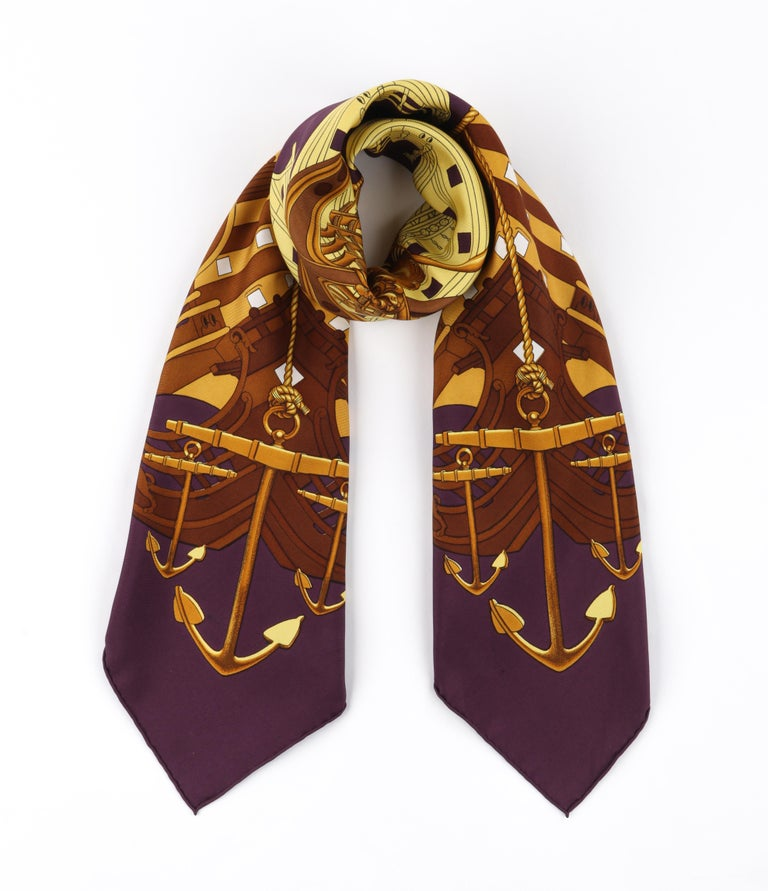 """HERMES c. 1973 Philippe Ledoux """"Proues"""" Purple Brown Gold Nautical Print Scarf In Good Condition For Sale In Thiensville, WI"""