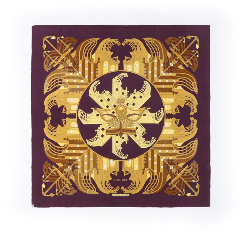 """Women's HERMES c. 1973 Philippe Ledoux """"Proues"""" Purple Brown Gold Nautical Print Scarf For Sale"""