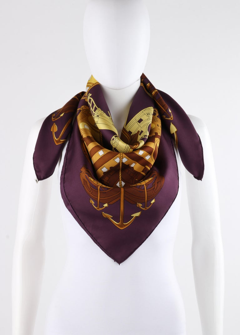 """HERMES c. 1973 Philippe Ledoux """"Proues"""" Purple Brown Gold Nautical Print Scarf For Sale 1"""