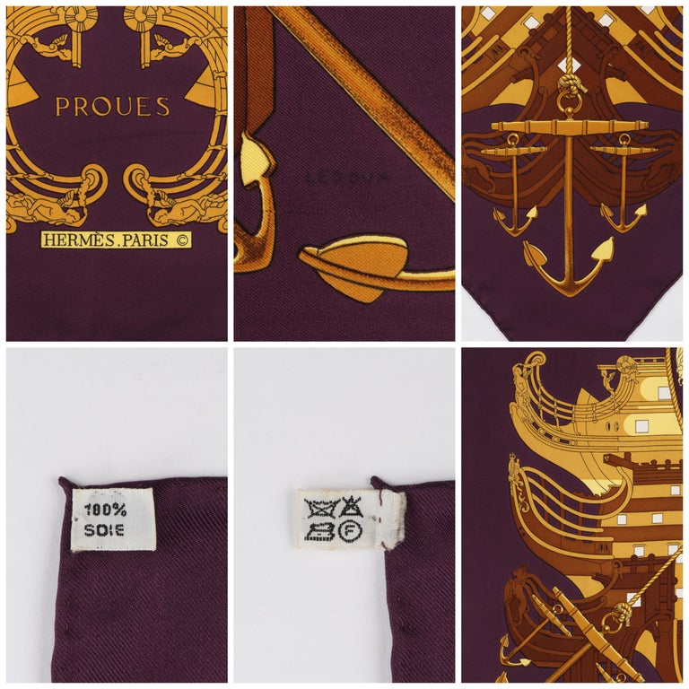 """HERMES c. 1973 Philippe Ledoux """"Proues"""" Purple Brown Gold Nautical Print Scarf For Sale 2"""