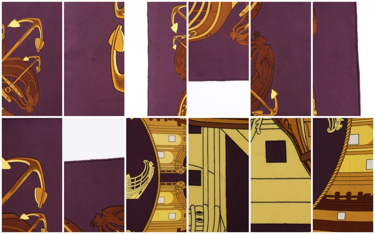 """HERMES c. 1973 Philippe Ledoux """"Proues"""" Purple Brown Gold Nautical Print Scarf For Sale 3"""