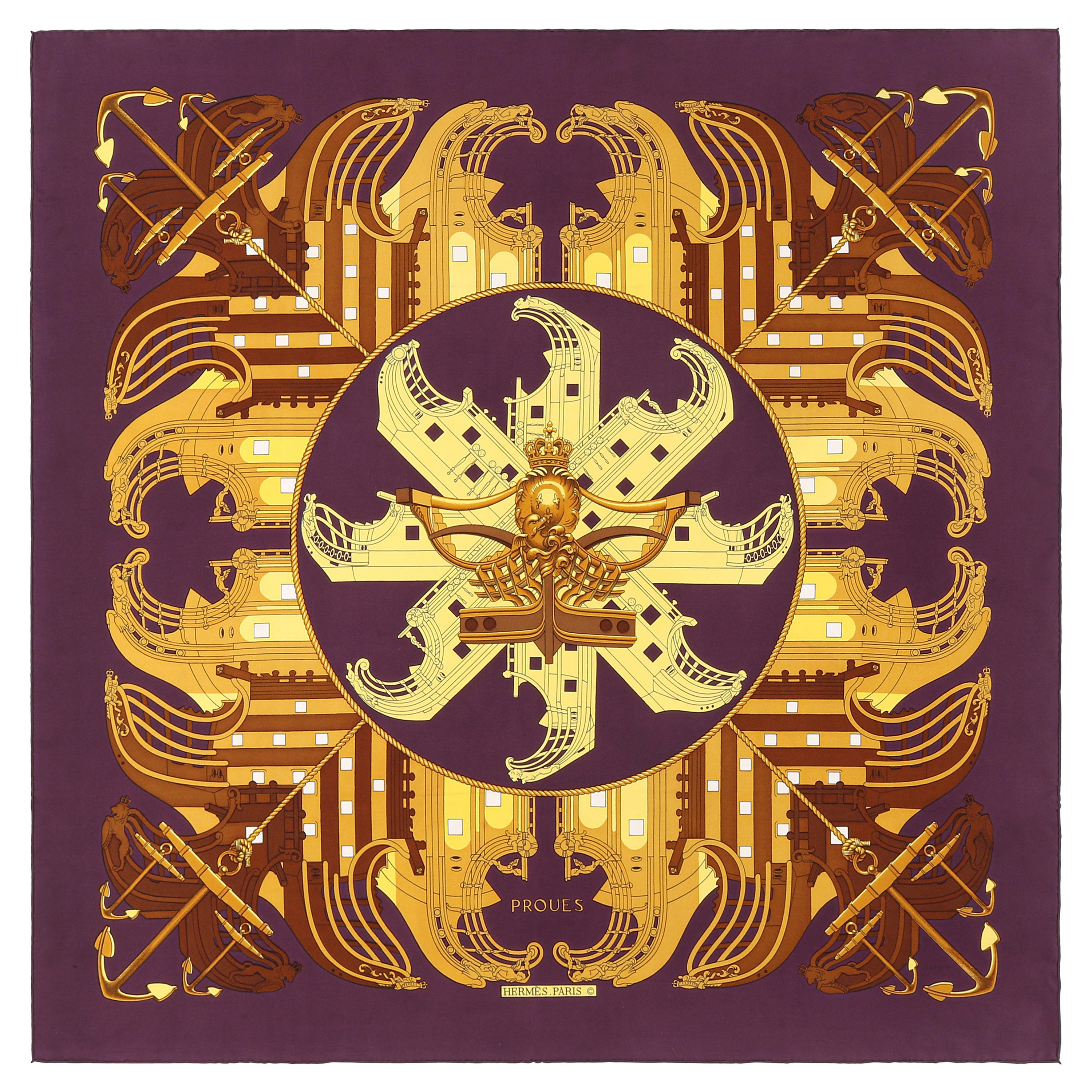 """HERMES c. 1973 Philippe Ledoux """"Proues"""" Purple Brown Gold Nautical Print Scarf"""