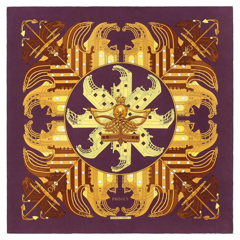 """HERMES c. 1973 Philippe Ledoux """"Proues"""" Purple Brown Gold Nautical Print Scarf For Sale"""