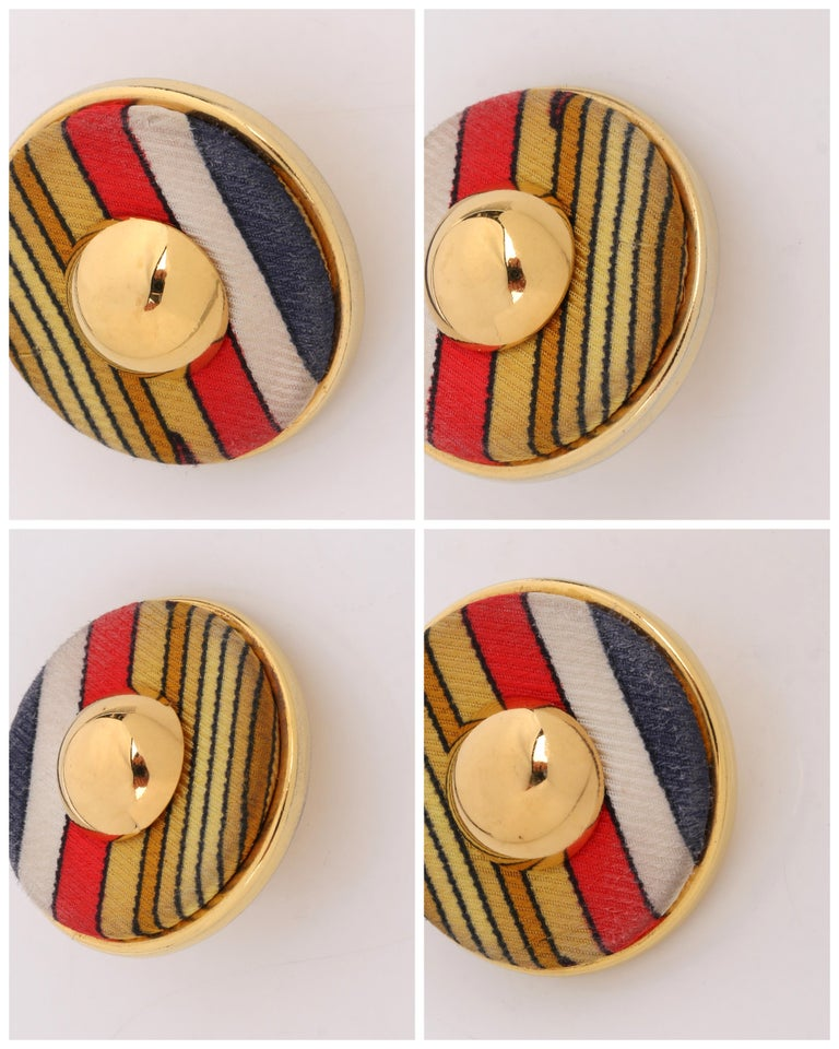 HERMES c. 1990's Round Striped Silk Covered Gold Button Clip On Earrings w/ Box For Sale 7
