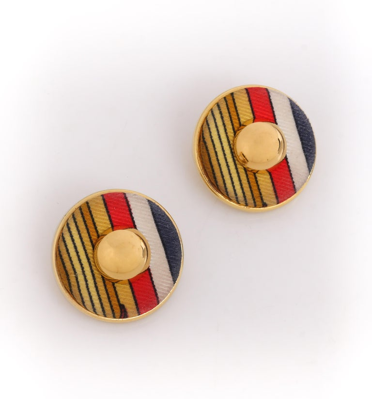 HERMES c. 1990's Round Striped Silk Covered Gold Button Clip On Earrings w/ Box In Good Condition For Sale In Thiensville, WI