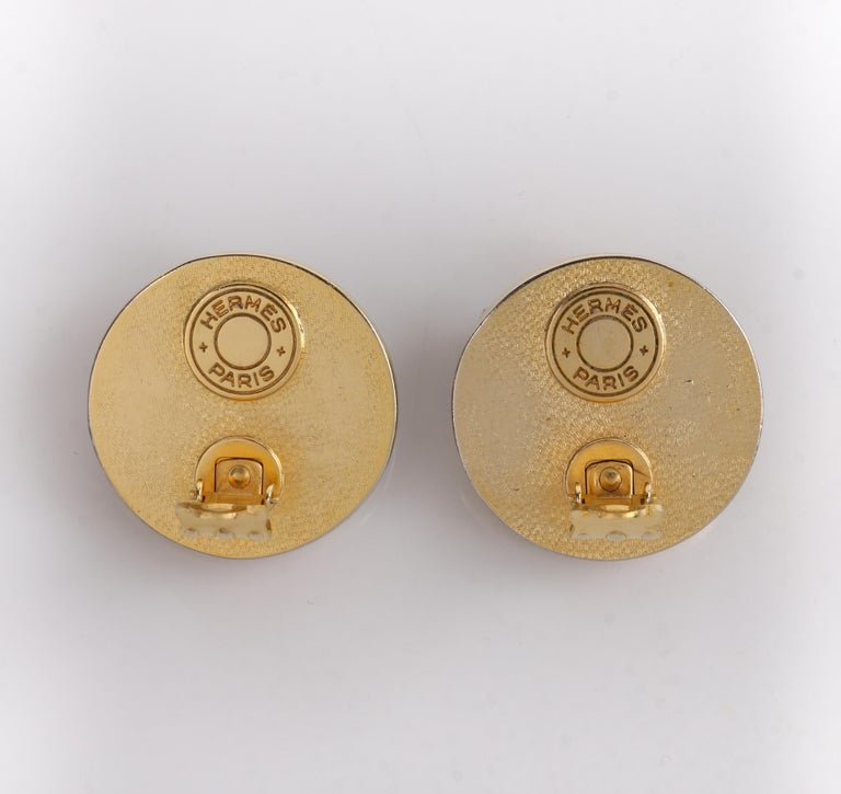 HERMES c. 1990's Round Striped Silk Covered Gold Button Clip On Earrings w/ Box For Sale 3