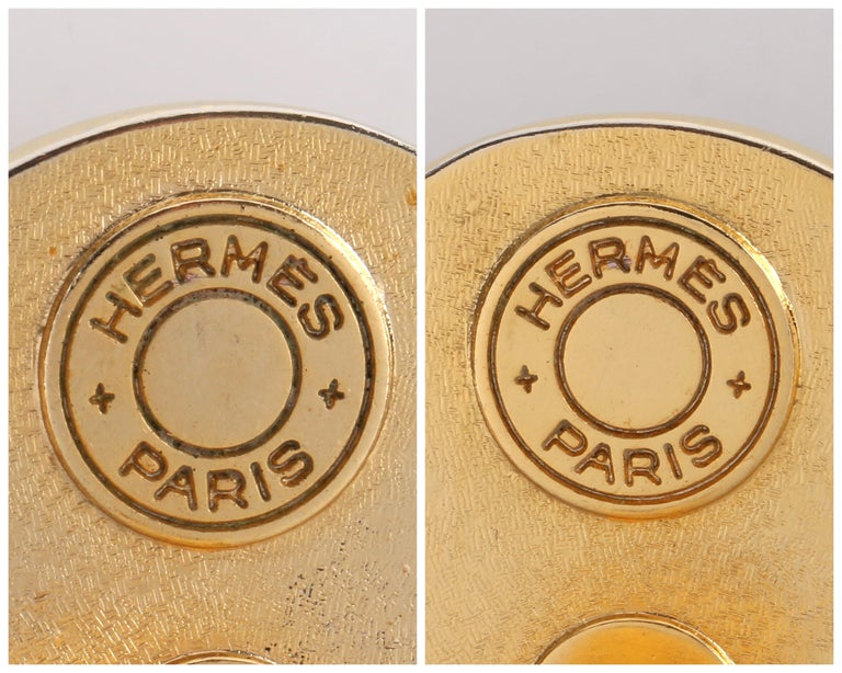 HERMES c. 1990's Round Striped Silk Covered Gold Button Clip On Earrings w/ Box For Sale 5