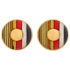 HERMES c. 1990's Round Striped Silk Covered Gold Button Clip On Earrings w/ Box