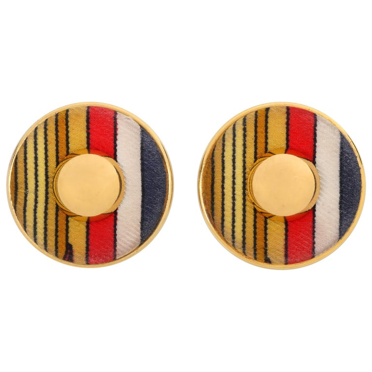 HERMES c. 1990's Round Striped Silk Covered Gold Button Clip On Earrings w/ Box For Sale