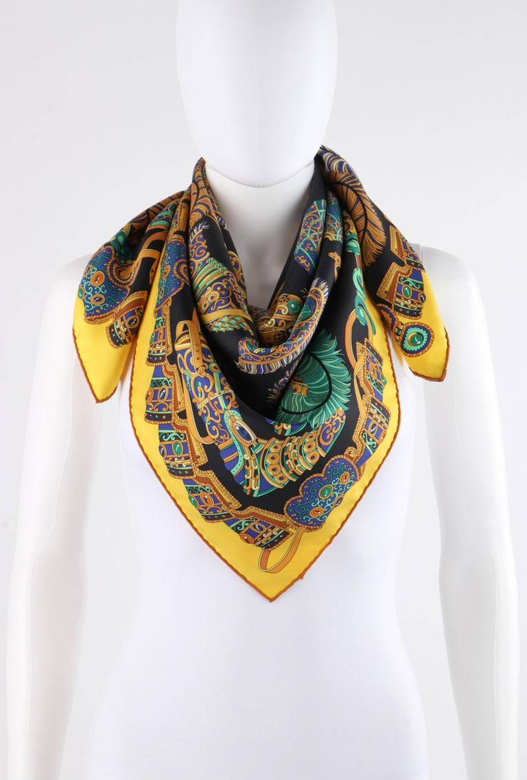 "HERMES c. 2013 Pierre Marie ""Sous l'Egide De Mars"" Silk Multicolor Print Scarf In Good Condition For Sale In Thiensville, WI"