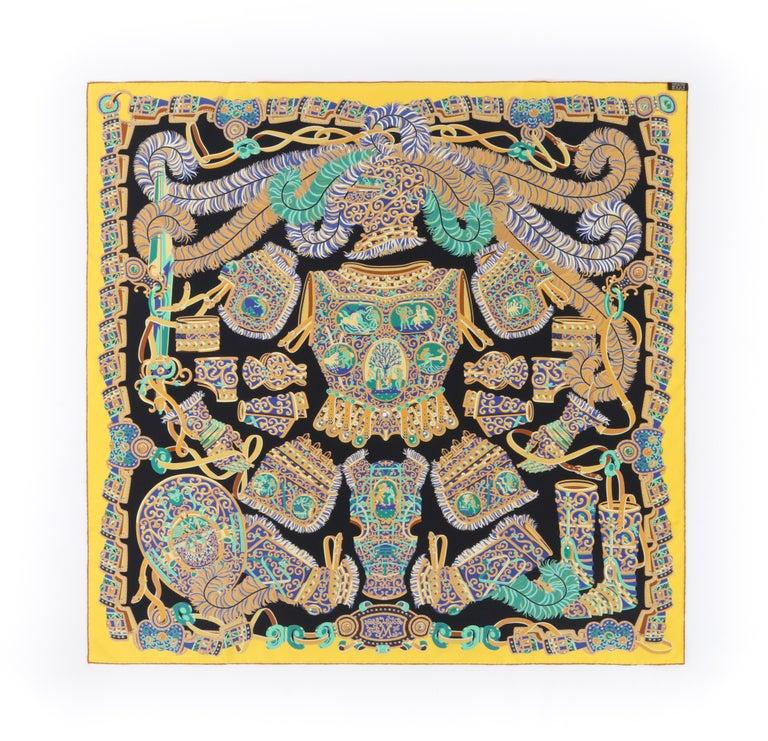 """Women's HERMES c. 2013 Pierre Marie """"Sous l'Egide De Mars"""" Silk Multicolor Print Scarf For Sale"""