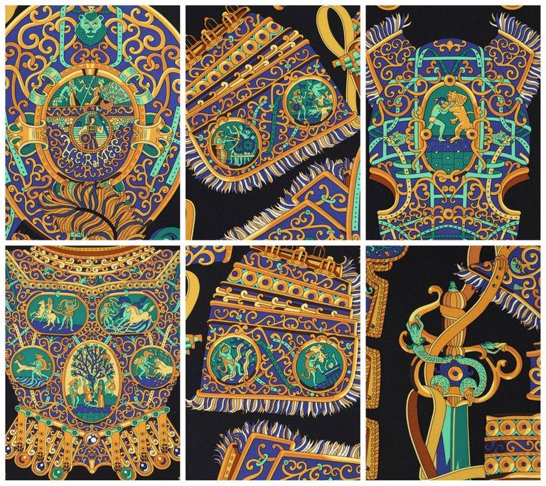 """HERMES c. 2013 Pierre Marie """"Sous l'Egide De Mars"""" Silk Multicolor Print Scarf For Sale 1"""