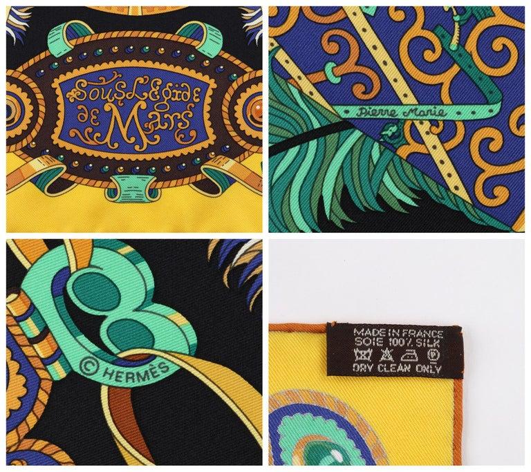 """HERMES c. 2013 Pierre Marie """"Sous l'Egide De Mars"""" Silk Multicolor Print Scarf For Sale 2"""