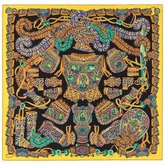 """HERMES c. 2013 Pierre Marie """"Sous l'Egide De Mars"""" Silk Multicolor Print Scarf"""