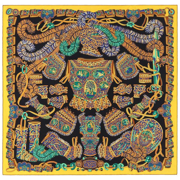 """HERMES c. 2013 Pierre Marie """"Sous l'Egide De Mars"""" Silk Multicolor Print Scarf For Sale"""
