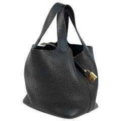 HERMES C Engraved mark(2018 ) Picotin Lock PM Womens handbag black x gold hardwa