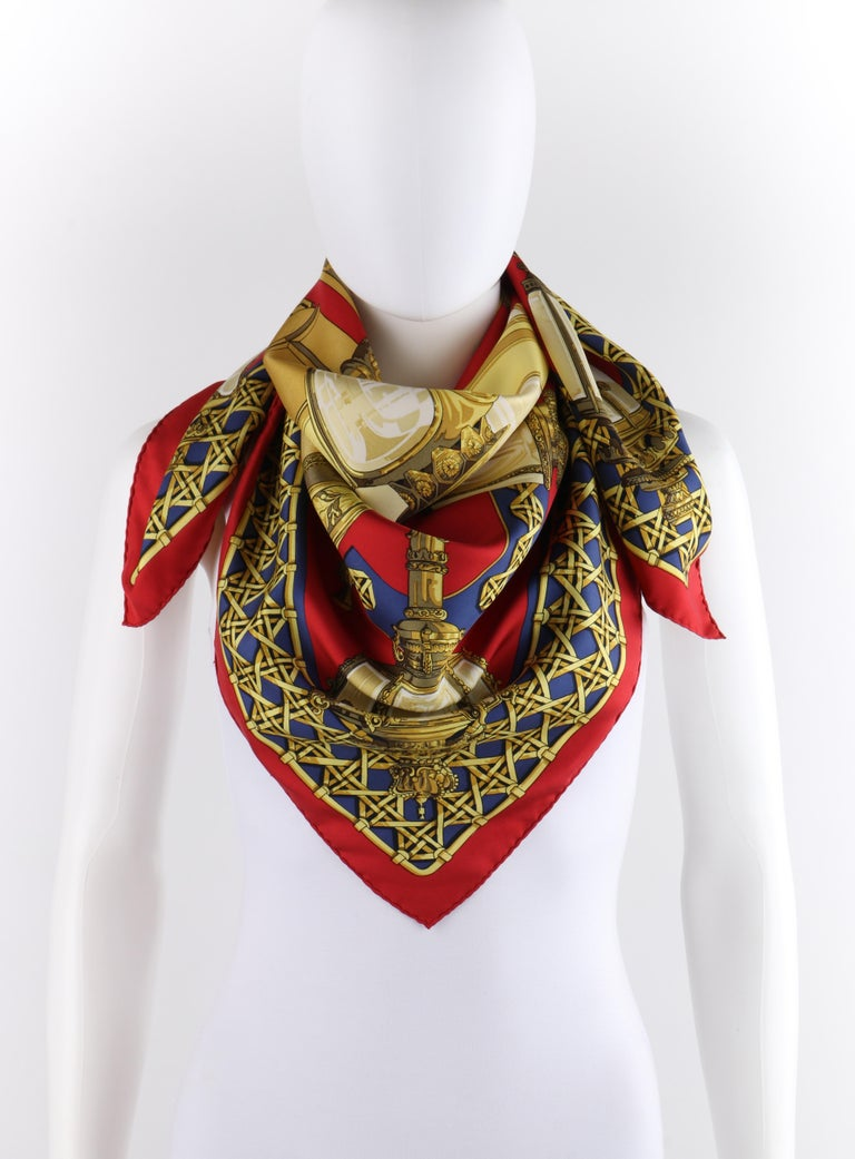 """HERMES c.1971 Caty Latham """"Feux De Route"""" Red Gold Blue Lantern Print Silk Scarf   Brand/Manufacturer: Hermes Circa: 1971 Designer: Caty Latham  Style: Silk scarf Color(s): Shades of red, blue, yellow, brown, gold, white and black Lined: No Marked"""