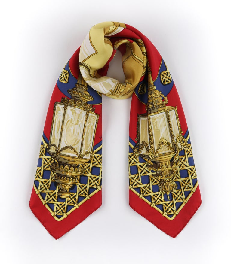 """Brown HERMES c.1971 Caty Latham """"Feux De Route"""" Red Gold Blue Lantern Print Silk Scarf For Sale"""