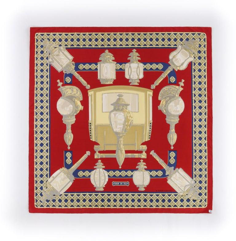 "Women's HERMES c.1971 Caty Latham ""Feux De Route"" Red Gold Blue Lantern Print Silk Scarf For Sale"