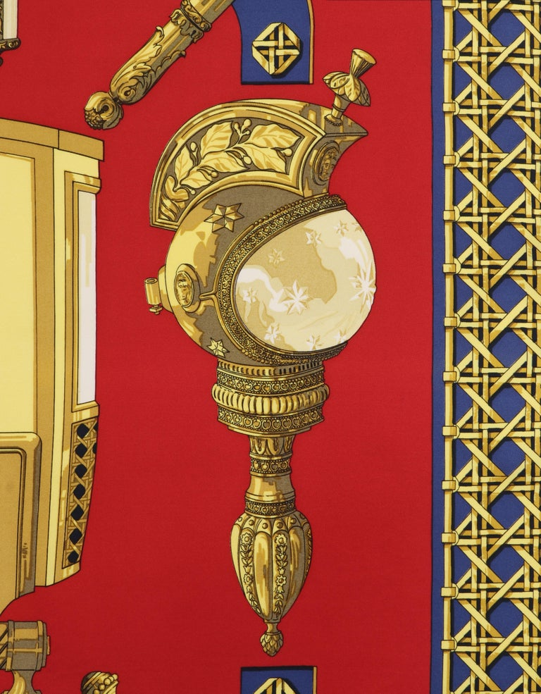 "HERMES c.1971 Caty Latham ""Feux De Route"" Red Gold Blue Lantern Print Silk Scarf For Sale 1"