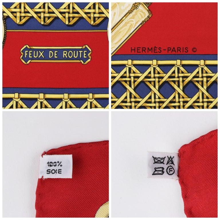 "HERMES c.1971 Caty Latham ""Feux De Route"" Red Gold Blue Lantern Print Silk Scarf For Sale 2"