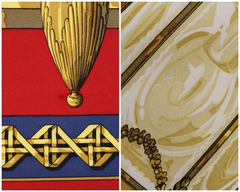 "HERMES c.1971 Caty Latham ""Feux De Route"" Red Gold Blue Lantern Print Silk Scarf For Sale 3"