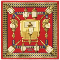 "HERMES c.1971 Caty Latham ""Feux De Route"" Red Gold Blue Lantern Print Silk Scarf"