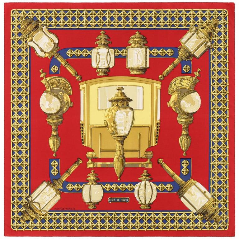 "HERMES c.1971 Caty Latham ""Feux De Route"" Red Gold Blue Lantern Print Silk Scarf For Sale"