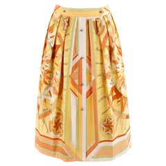 """HERMES c.1980's """"La Rose des Vents"""" Yellow Compass Rose Pleated Button-Up Skirt"""