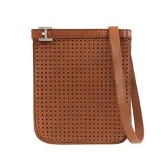 "HERMES c.1980's ""Onimaitou"" Brown Perforated Leather Crossbody Shoulder Handbag"