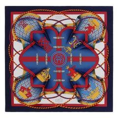 "HERMES c.1990 ""Grande Tenue"" Henri d'Orginy Equestrian Royal Emblem Silk Scarf"