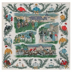 "HERMES c.1993 Maurice De Taquoy ""Courses a Chantilly"" Equestrian Race Silk Scarf"