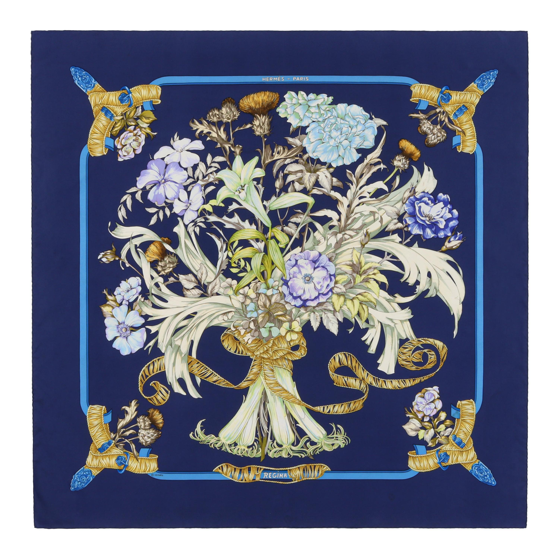 "HERMES c.1997 ""Regina"" Navy Floral Ribbon Royal Bouquet & Belts Silk Twill Scarf"
